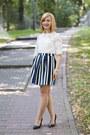 Black-zara-shoes-navy-stradivarius-skirt-white-sheinside-blouse