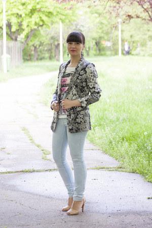 heather gray Zara blazer - light blue pull&bear jeans - nude Zara sandals