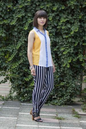 navy Zara pants - mustard Zara top - black H&M sandals