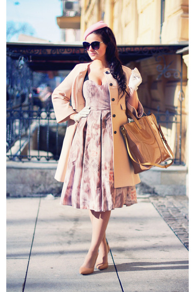 neutral Zara coat - light pink asos dress
