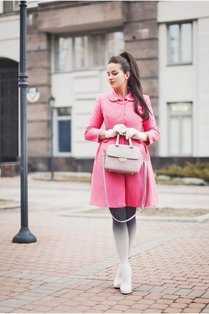 bubble gum asos coat - light pink Topshop bag - white asos heels