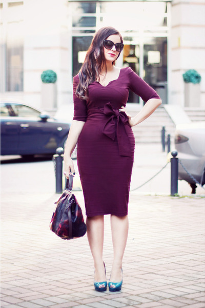 magenta Hybrid dress - magenta H&M bag - teal Zara heels
