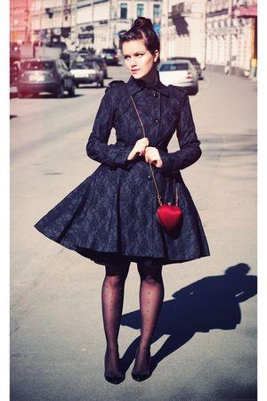 black Topshop coat - black Bershka shoes - black H&M tights - red Topshop bag