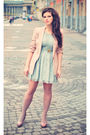 Pink-zara-blazer-green-newlook-dress-pink-zara-shoes-gold-bershka-necklace