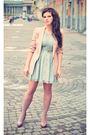 Pink-zara-blazer-green-newlook-dress-pink-zara-shoes-gold-bershka-necklace