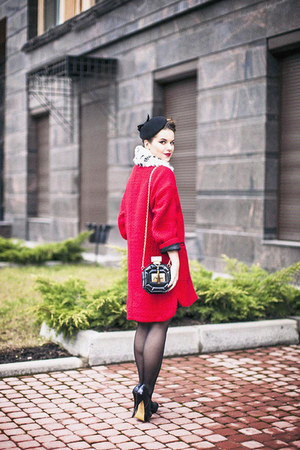 black Aldo bag - red wool asos coat - white asos scarf - black Diavolina heels