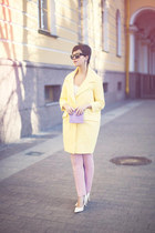 light yellow asos coat - violet River Island bag - dark gray asos sunglasses