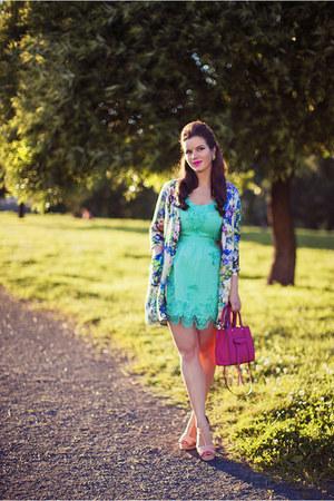 aquamarine asos dress - blue River Island coat - hot pink Rebecca Minkoff bag