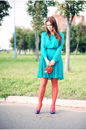 turquoise blue new look dress - carrot orange H&amp;M stockings