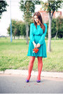 Turquoise-blue-new-look-dress-carrot-orange-h-m-stockings
