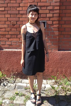black Mango dress - black Hongdae South Korea sandals