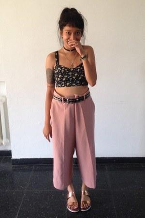 pink culotte Zara pants - black vintage belt - dark gray Tally Weijl top