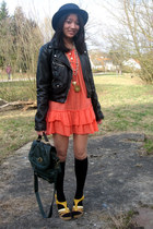 light orange Only dress - navy hat - black H&M jacket - dark green Pimkie bag -