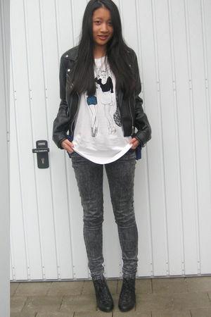 white H&M shirt - black H&M jacket