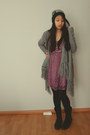 Black-boots-puce-h-m-dress-accessorize-hat-heather-gray-h-m-cardigan