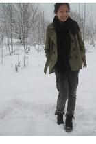 army green H&M coat - black H&M scarf - gray Zara jeans - black goertz boots - l