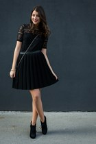 black le chateau boots - black Jacob blouse - black Tristan skirt