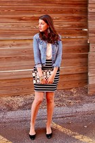 black Simons skirt - sky blue denim Zara jacket - Zara bag
