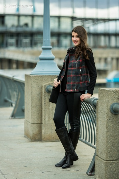 black le chateau boots - black Zara jacket - black Simons leggings