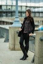 black le chateau boots - black Zara jacket - black Simons leggings