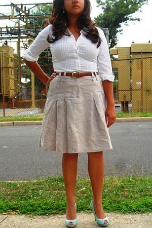 white  shirt - brown talbots belt - beige H&M skirt - blue Maxstudio shoes - blu