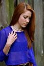 Blue-chiffon-blouse-brown-pants