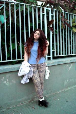 tapestry Cavalli pants - Dr Martens shoes - acid wash lilac vintage jacket