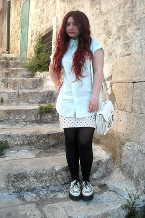 satchel H&M bag - creepers Demonia shoes - mint vintage shirt - H&M skirt