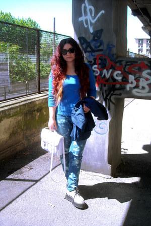 tie dye diy vintage jeans - Demonia shoes - vintage blazer