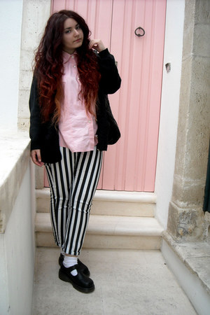 striped H&M pants - mary jane Dr Martens shoes - light pink vintage shirt