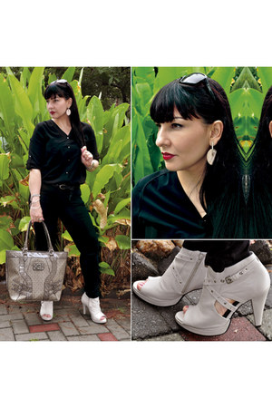 black Renner blouse - beige Via Marte boots - tan Guess bag - black pool pants