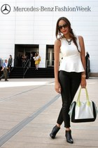 white peplum Zara shirt - black Giuseppe Zanotti boots