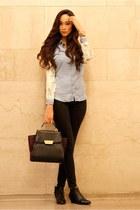 black ankle boots Giuseppe Zanotti boots - light blue chambray-denim Zara shirt