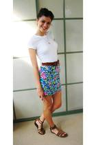 pink skirt - white t-shirt - brown accessories