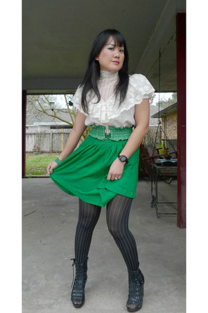 Parisian boots - Forever 21 skirt - edwardian vintage blouse