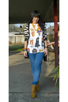 mustard lita Jeffrey Campbell boots - Forever 21 jeans - Zenana Outiftters cardi
