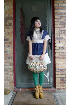 Rue 21 top - mustard lita Jeffrey Campbell boots - kelly green Rue 21 tights