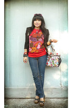 Seven jeans - tokidoki LeSportSac bag - Chloe wedges - red Kawaiiland t-shirt