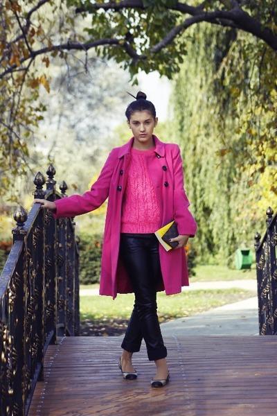 La Redoute coat - Boohoo sweater - jennyfer pants - Bershka flats