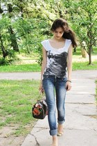 Debenhams t-shirt - Local store jeans - fake Louis Vuitton bag