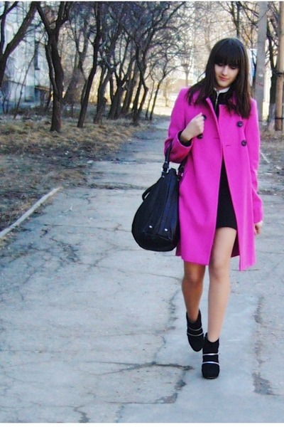 black under Forever21 jacket - black LoveLabel boots - hot pink La Redoute coat