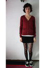 Black-h-m-tights-brick-red-h-m-cardigan-white-abercrombie-and-fitch-top