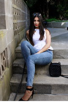 peplum Kely Clothing top - Zara jeans - Chanel bag - Fossil sunglasses