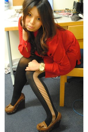 River Island tights - charity shop blouse - watch Michael Kors accessories - Riv