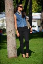 vintage vest - Mango jeans - calvin klein bag - Koton heels