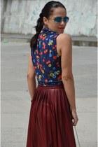 H&M bag - Mango shirt - vintage wedges - Zara top - Zara skirt