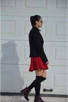 Zara skirt - Topshop boots - Mango blazer - Bershka shirt - asos socks