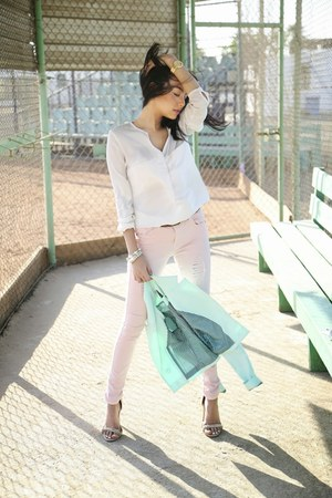 aquamarine Splash blazer - light pink suiteblanco jeans - white Zara shirt