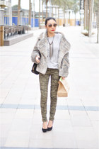 dark khaki fur jacket Nine West jacket - black pull&bear bag