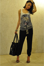 heather gray tiger top New Yorker t-shirt - black harem pants Zara pants